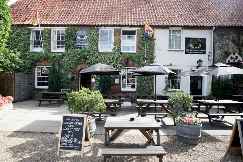 A photos of the front of the Bull Inn in walsingham, North Norfolk